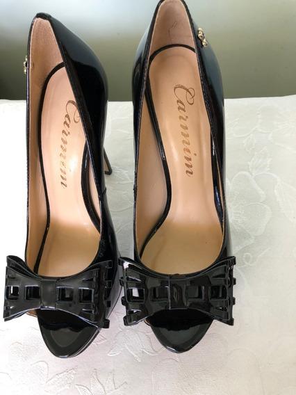 Sapato Peep Toe Edna - Carmim - Nº 36