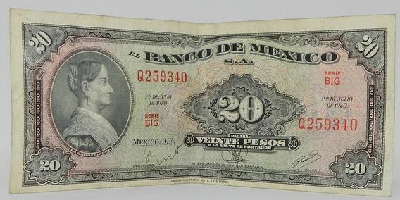 Billete $20 Veinte Pesos Josefa Ortíz La Corregidora 1970 2