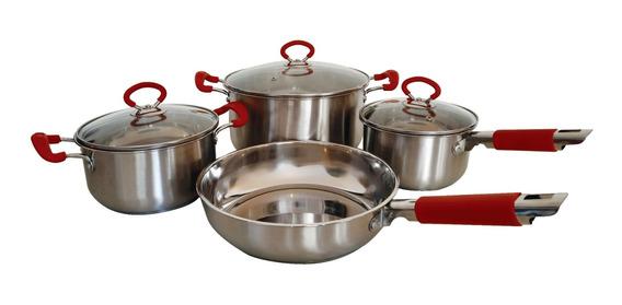 Set Bateria Cocina Cacerolas Y Sarten 4 Piezas Acero