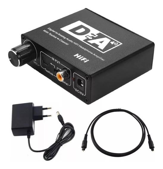 Conversor De Audio Coaxial Digital P/ Óptico Com Cabo Optico