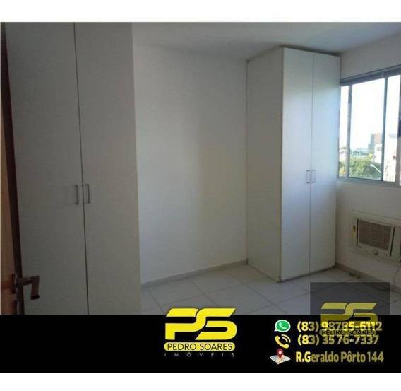 (aluga-se) Flat Com 1 Dormitório Para Alugar, 40 M² Por R$ 1.400/mês - Tambaú - João Pessoa/pb - Fl0045