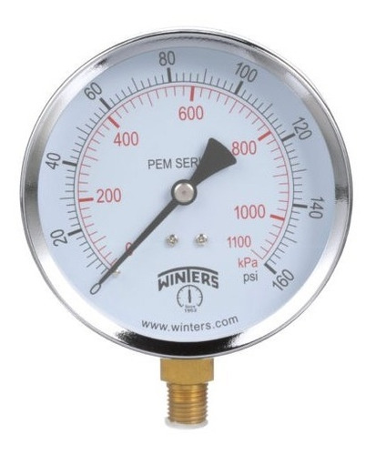 Manómetro Winters Pem Caja 100mm Economico R1/2 Rangos +70kg