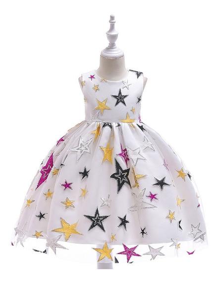Vestido Niña Fiesta, Cumpleaños Presentación Estrellas