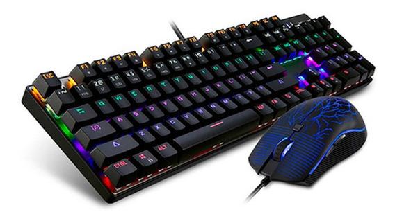 Combo Motospeed Teclado E Mouse Ck666 Rainbow Switch Outemu