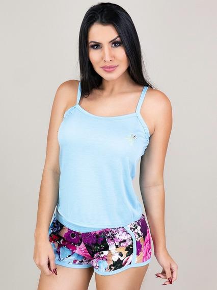 Pijama Curto Adulto Feminino Blusa Regata E Short Estampado