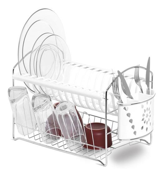 Secador De Louças Com Porta-talheres Niquelart 47,5cm Branco