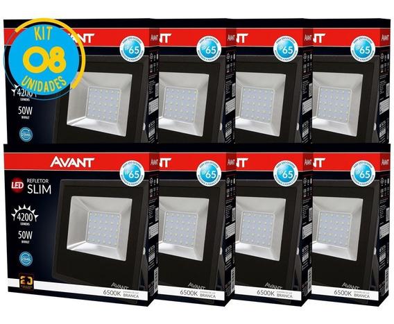 Kit Refletor Led 50w Branco Holofote 127 / 220v 8 Pçs Avant