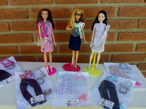 2 Kits Barbie Roupa + Sapato + Bolsa + Acessório +brinde