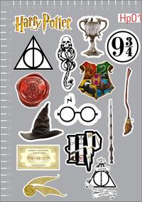 Adesivo Harry Potter Emblemas Icones Promoção Kit 3 Cartelas