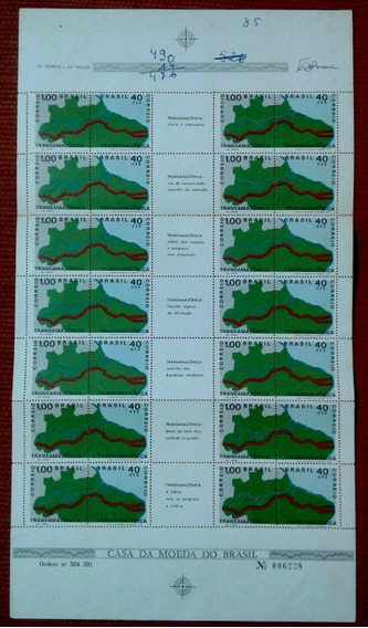 Brasil 1971 Folha Completa Selo C-699/700 Transamazônica
