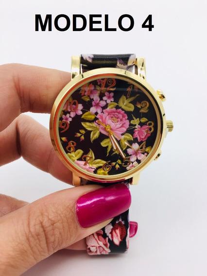Relógio De Pulso Floral Feminino Silicone Couro + Caixa