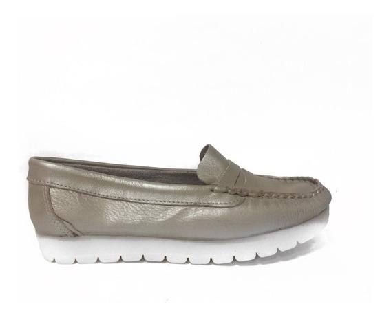 Zapato Lucerna Mocasin Cuero Platino