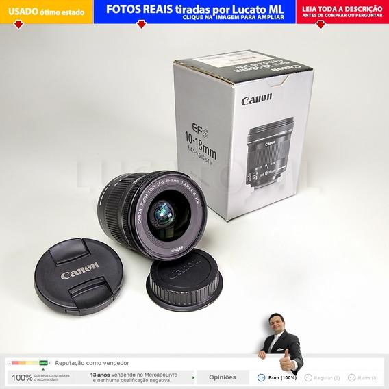 Lente Canon Efs 10-18mm Is Stm F/4.5-5.6 Impecável Com Caixa