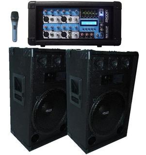 Combo Bafles 15 + Mixer Potenciado Mp3 Microfono Y Cables