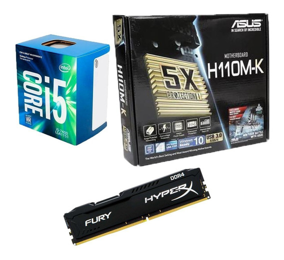 Kit Mb Asus H110m-k + Proc. I5 7400 + Memoria 8gb + Ssd 480g