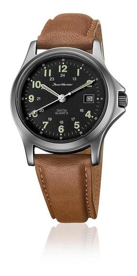 Relógio Pulso Caixa Aço Pulseira Couro Jean Vernier Jv01331
