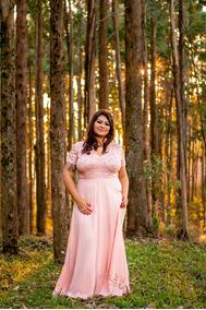 Vestido Evangelico Casamento Plus Size Rosé Com Manga Tam.54