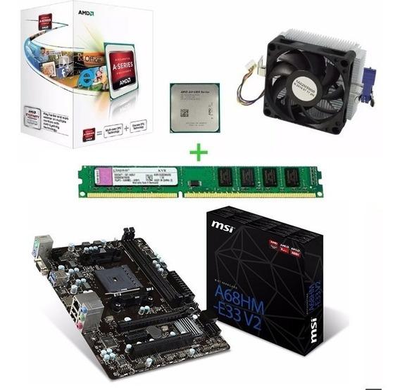 Kit Msi A68hm-e33v2 Processador Amd A4 6300 1x4gb Ddr