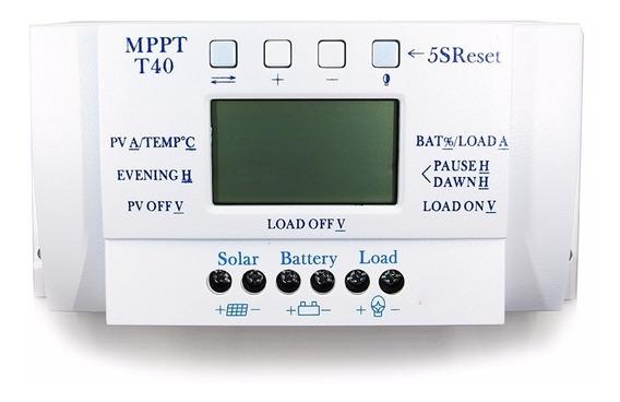 Controlador De Carga Solar Mppt 40a 12/24v Max 50v Com Usb