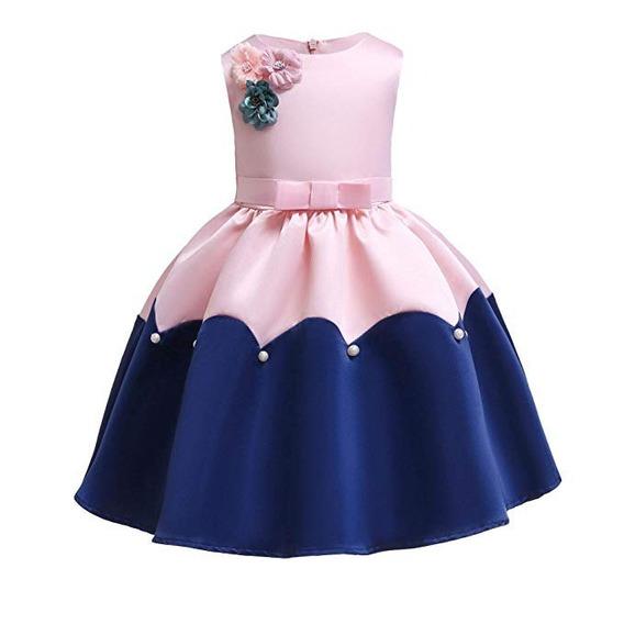 Vestido Largo Con Encaje De Niña Rosa Y Azul