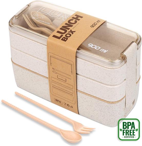 Lonchera Lunch Box 3 Niveles Portaviandas Libre Bpa Trigo