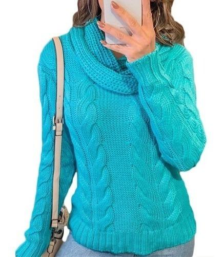 Blusa De Lã Tricot Feminina Outono Inverno Gola Alta Linda