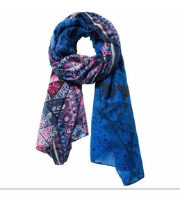 & Pañuelo Azul Desigual Farm Nuevo Con Envío