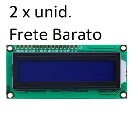 2 Display Tela Lcd 16x2 1602 Backlight Azul Arduino Oferta