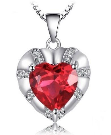 Colar Cordão Feminino Prata 925 Amor Coração Noivado Rubi