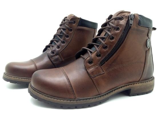 Bota Coturno Casual Masculino Couro Legitimo Sapato Casual