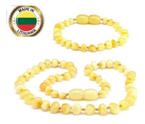 Colar + Pulseira Âmbar Báltico Dentição Bebê Certificado