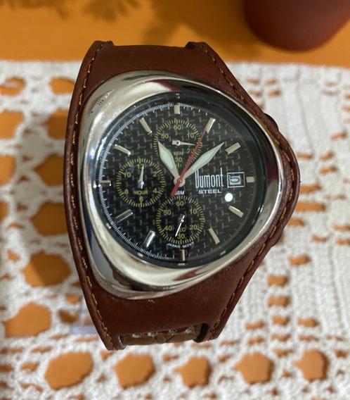 Relógio Dumont Steel Cronógrafo Pulseira Couro Raro