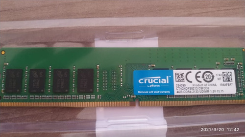 Memoria Ram 4gb Ddr4 2133mhz Crucial