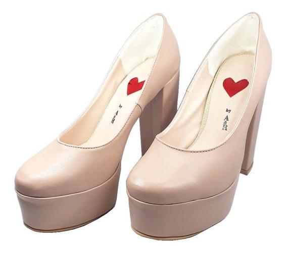Zapato Mujer Con Taco Palo Y Punta Cerrada