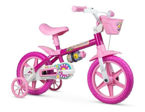 Imagem 1 de 3 de Bicicleta Infantil Nathor Flower Aro 12 Com Cestinha