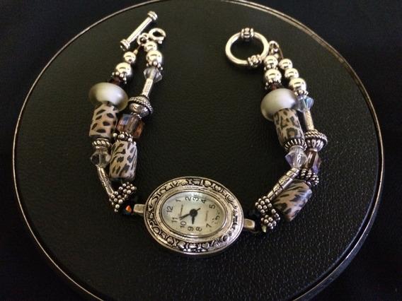 Relógio Geneva Pulso Feminino Em Prata 925