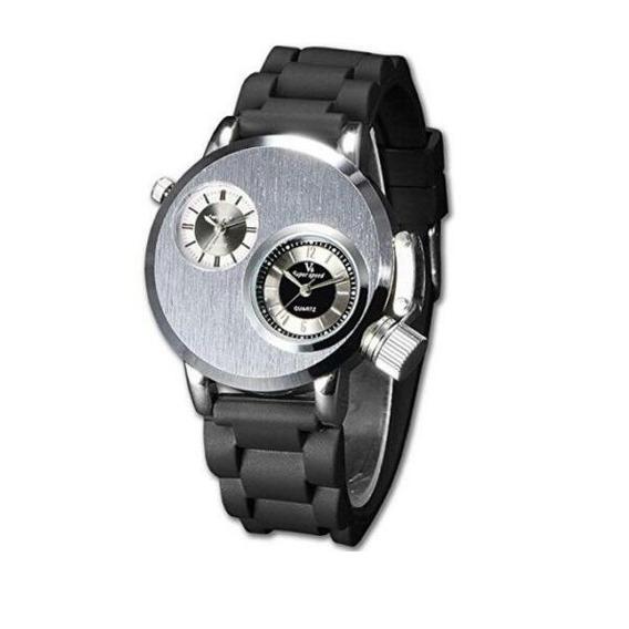 Relógio De Pulso V6 Banda Silicone Duplo Fuso Horário Sports