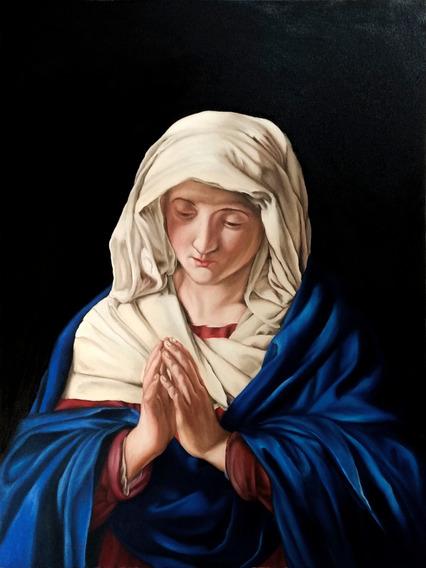 Pintura Óleo Nossa Senhora Sassoferrato 80x60cm Frete Grati
