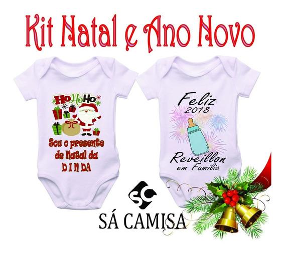 Kit Bebe Com 2 Body Em Ribana -estica Natal,reveillon