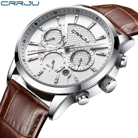 Reloj Casual Elegante Crrju Hombre Cuero Moda 2020