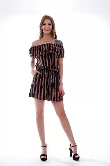 Macaquinho Feminino Listrada Ciganinha Importar Xf023#