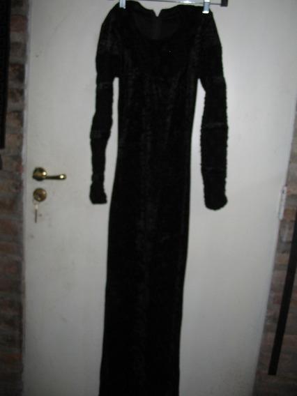 Vestido Fiesta Noche Largo Negro M Manga Larga Trab Chifon