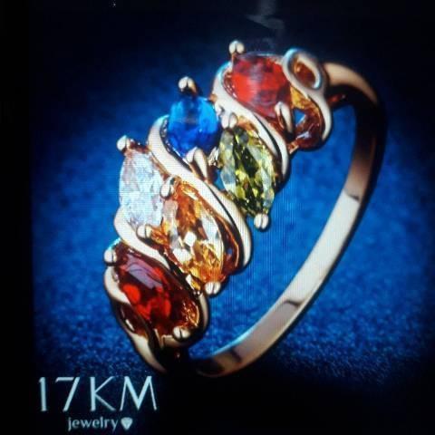 Kit Com 5 Anéis Femininos Banhado À Ouro Com Pedras:
