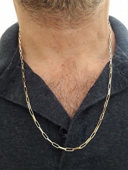 Corrente Masculina Em Ouro 18k Elo Quadrado 4.5g 60cm+brinde