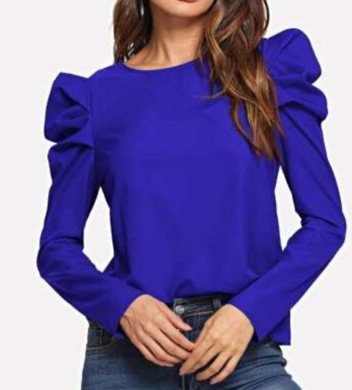 Camisa Azul Manga Larga