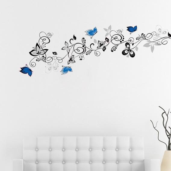 Adesivos De Parede Decora Borboletas Azuis + Galho + Flores
