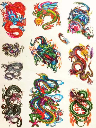 Imagem 1 de 6 de Kit Com 60 Tatuagens Dragões Temporárias Tattoo N24