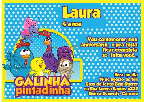 Imagem 1 de 2 de 60 Convites Galinha Pintadinha Personalizado + Frete Grátis