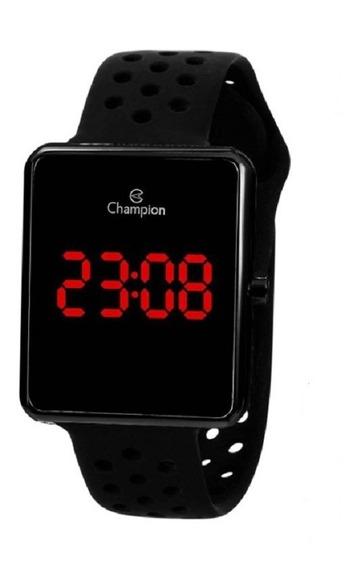 Relógio Champion Unissex Digital Led Ch40081d Preto Quadrado