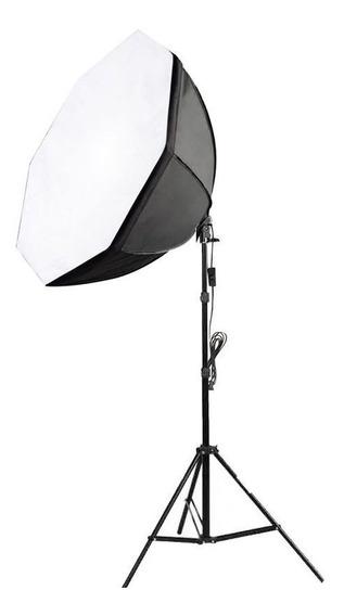 Kit Iluminação Estúdio Softbox E27 Octo 70cm Tripé 2m